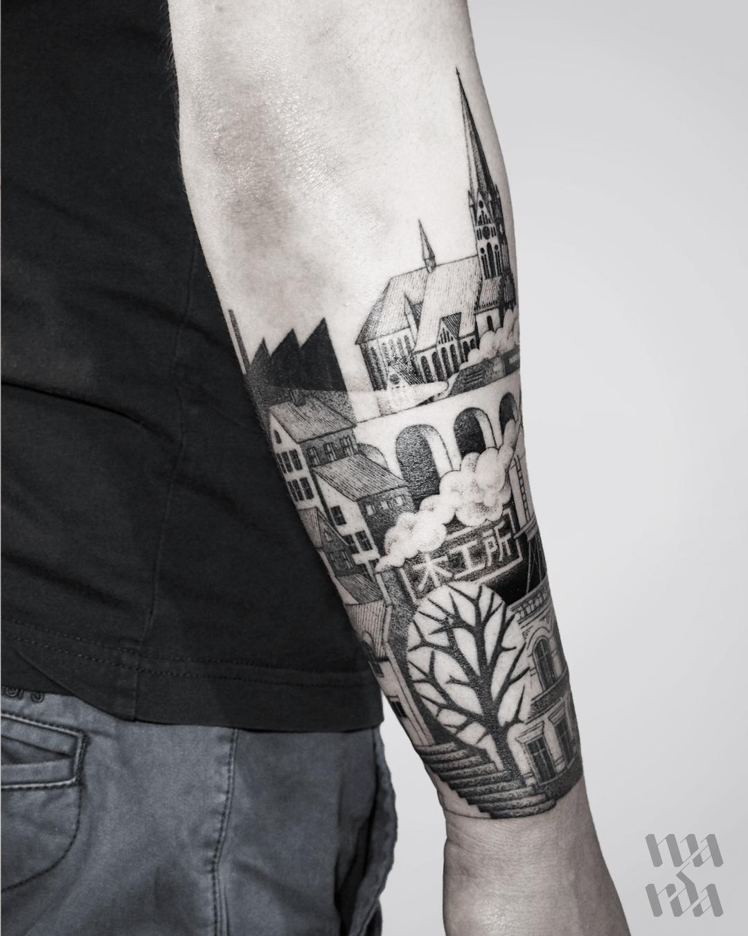 City landscape tattoo by Warda