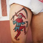 Colorful grim reaper tattoo
