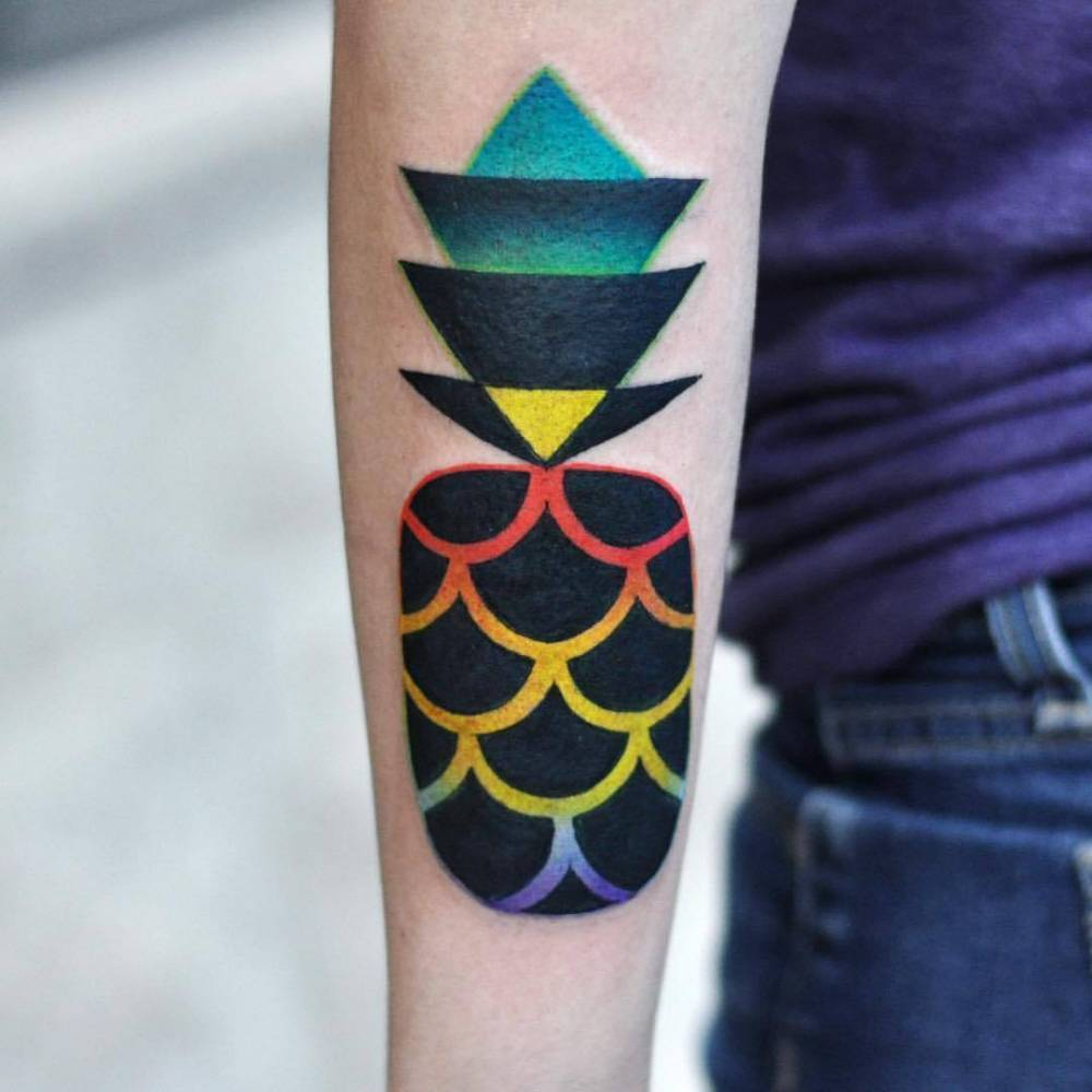 Colorful pineapple tattoo by David Côté