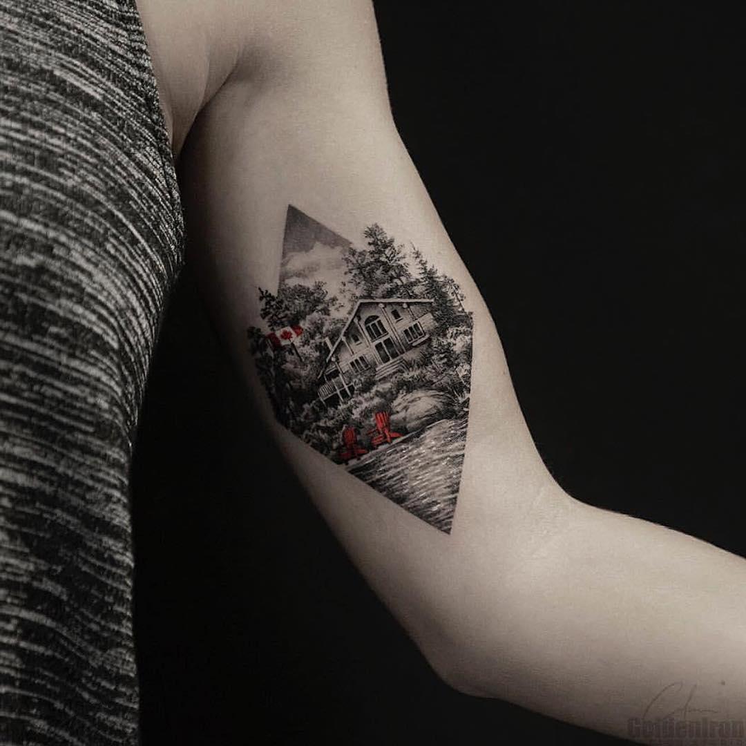 Cottage landscpae tattoo