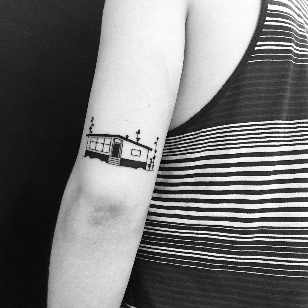 Custom house tattoo by Chinatown Stropky