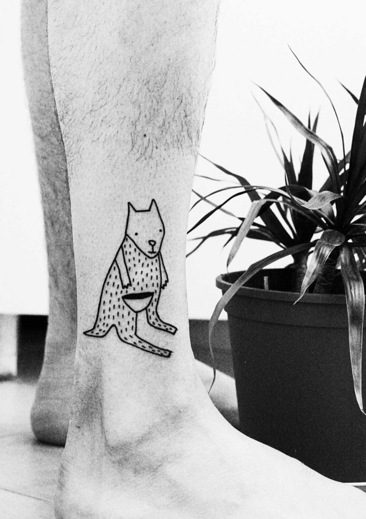 Cute kangaroo tattoo