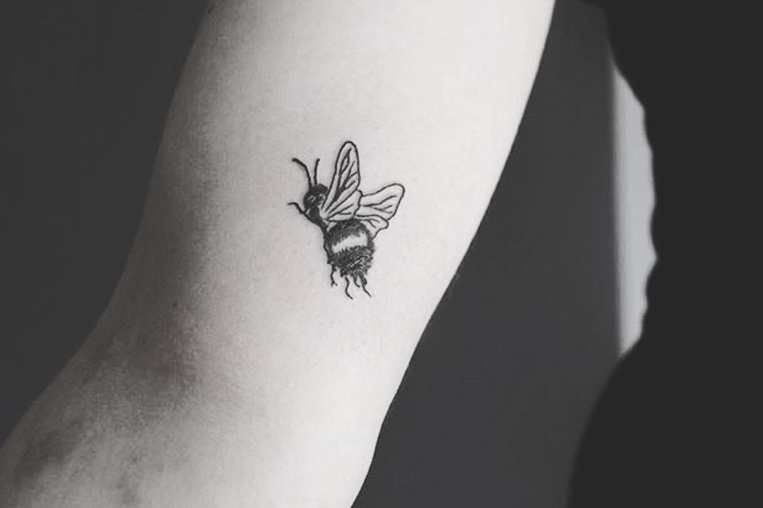Cute little bee tattoo