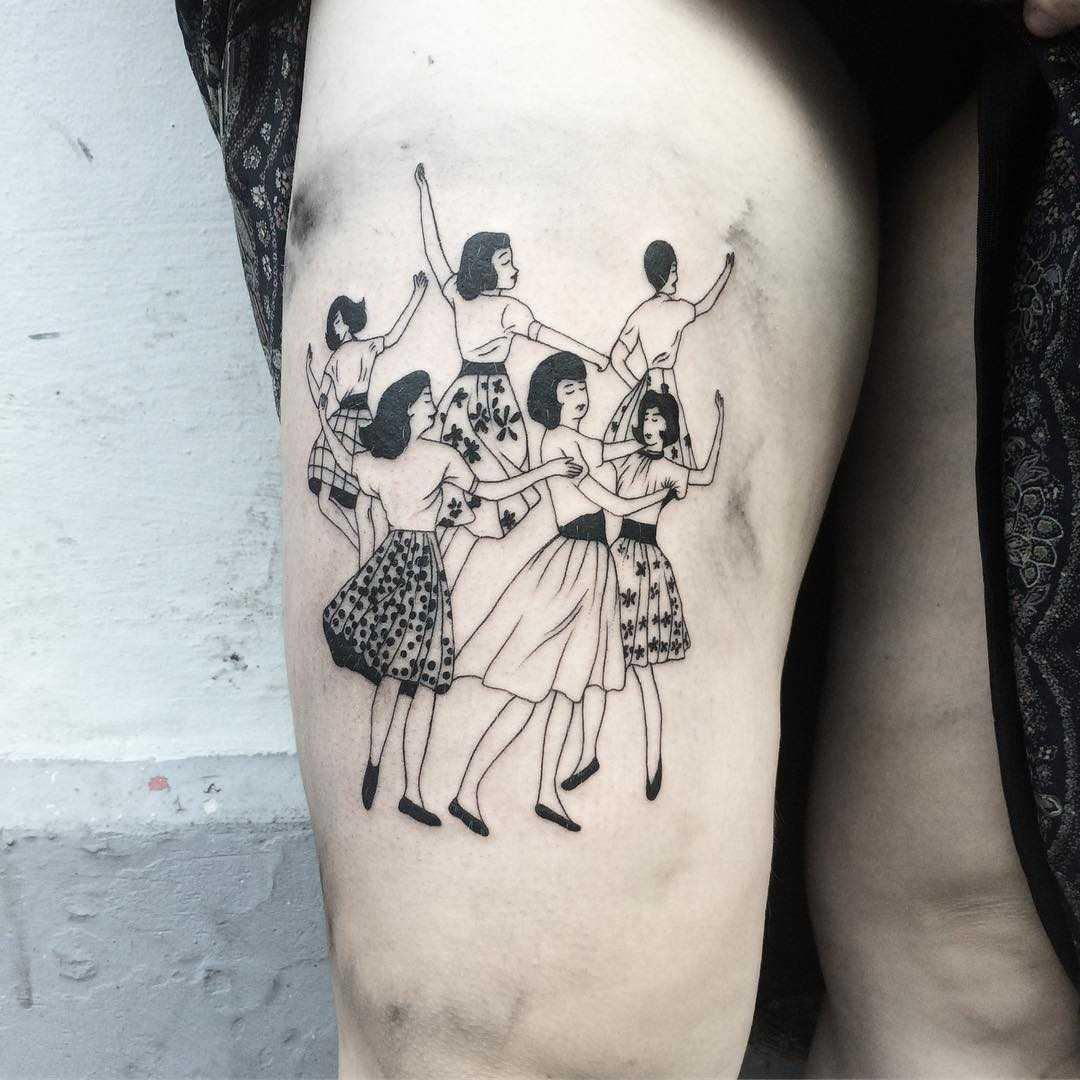 Dancing girls tattoo