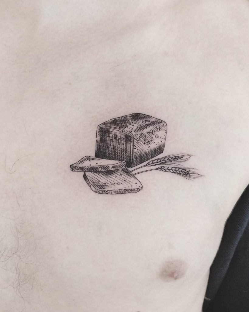 Danish rugbrød tattoo by Annelie Fransson