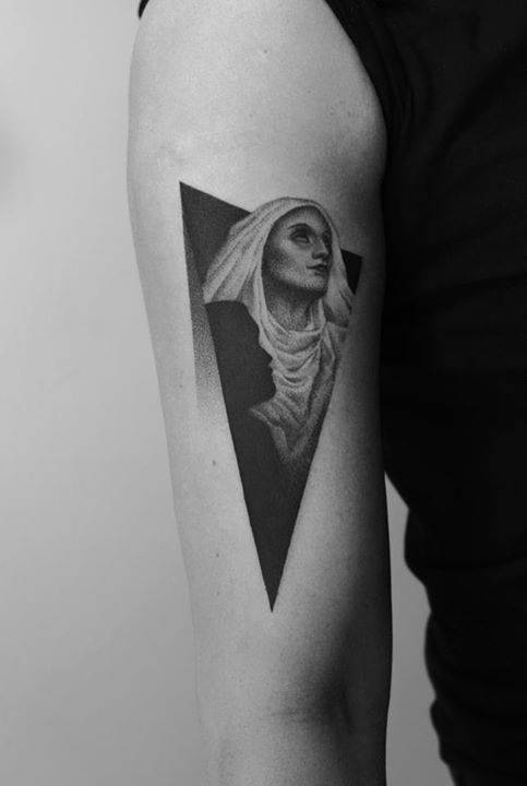 Dot-work Saint Monica tattoo
