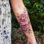 Double pink rose tattoo