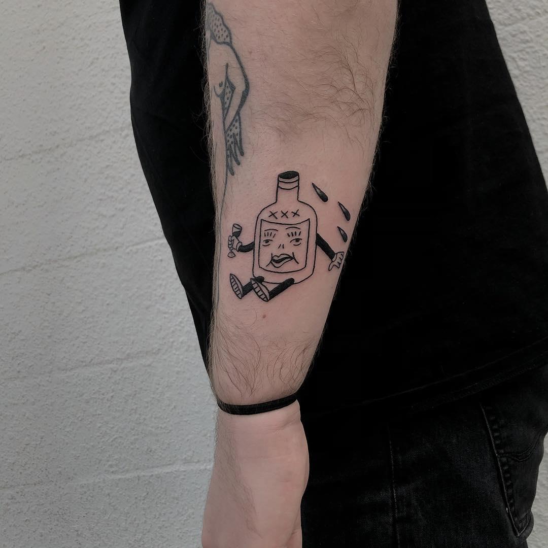 Drunken bottle by tattooist yeahdope