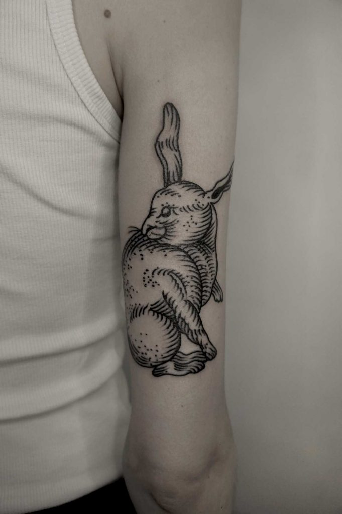 Engraving rabbit tattoo by Andrei Svetov