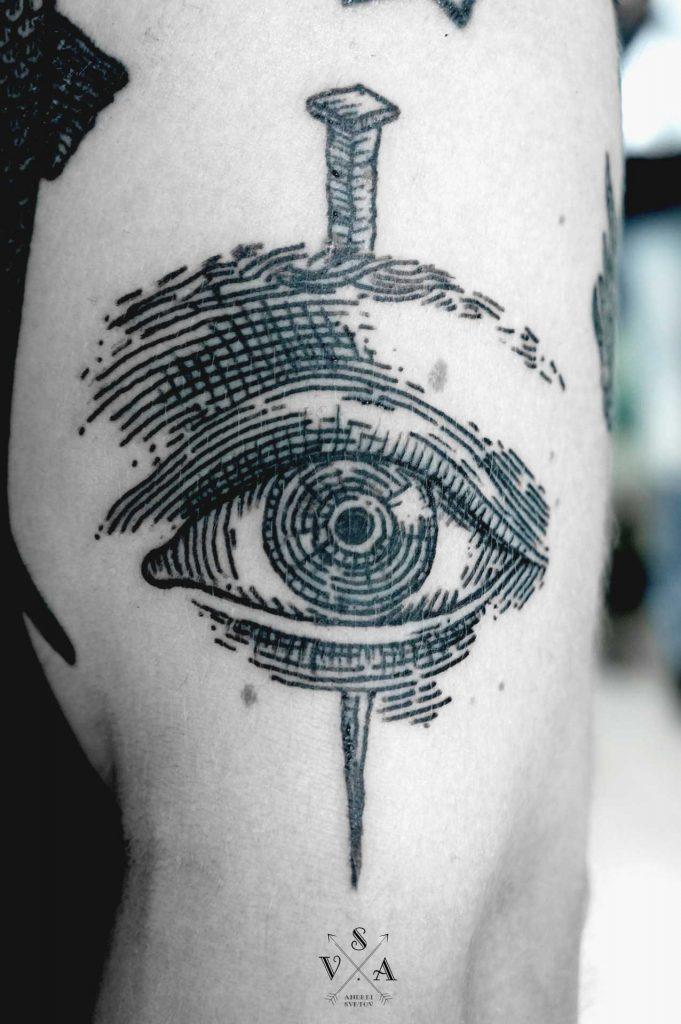 Eye and nail tattoo by SVA