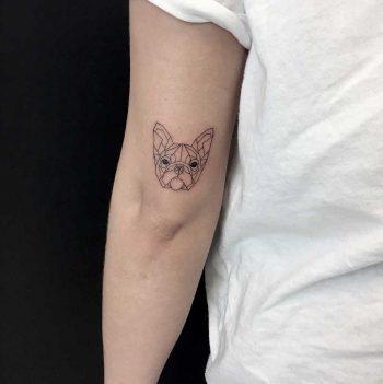 Fineline frenchie tattoo by Nerdymatch Loredana