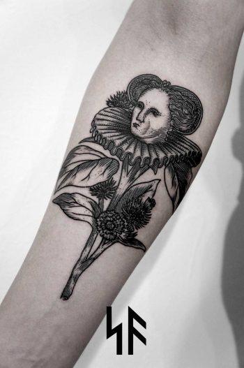 Flower lady tattoo by Andrei Svetov