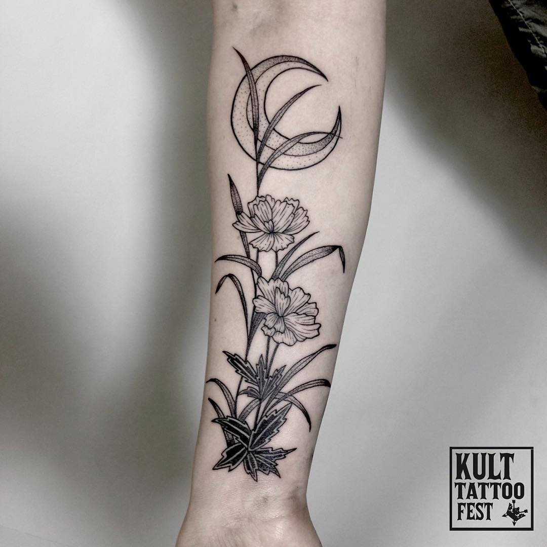 Flowers and moon tattoo