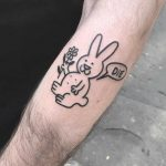 Friendly bunny tattoo by Jay Lester