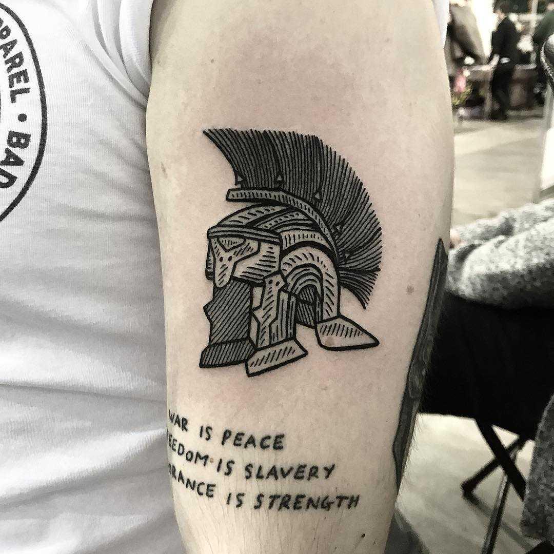 Galea helmet tattoo by Deborah Pow