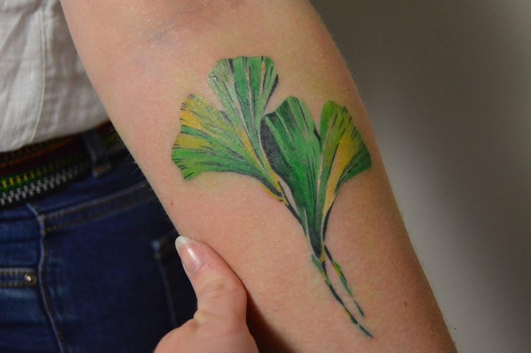 Ginko leaves tattoo by Mavka Leesova