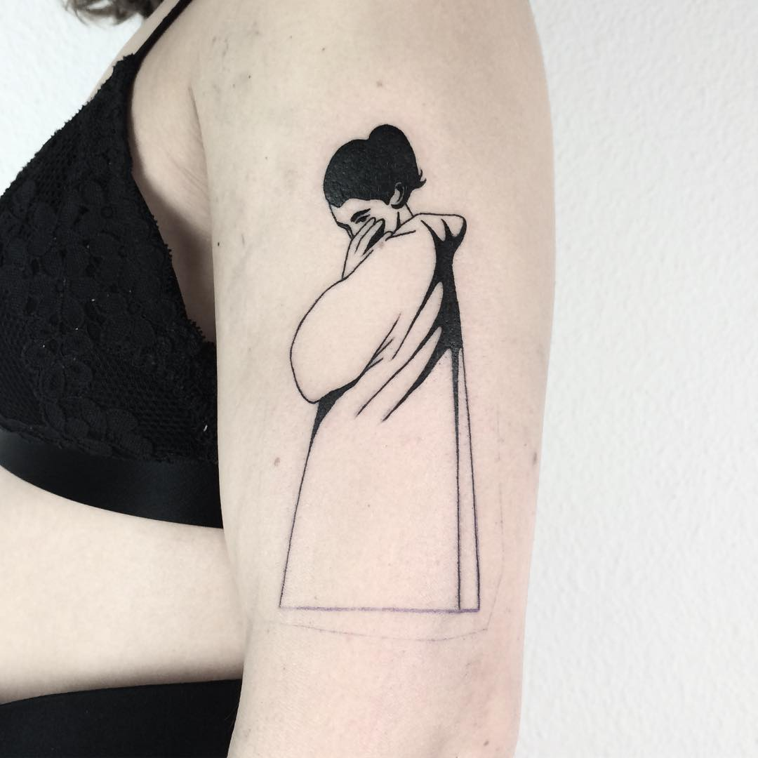 Girl with a raincoat tattoo