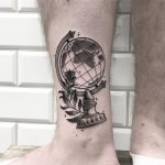 Globe tattoo on the ankle