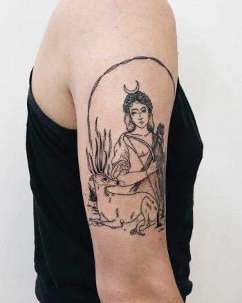 Goddess Diana tattoo by Finley Jordan