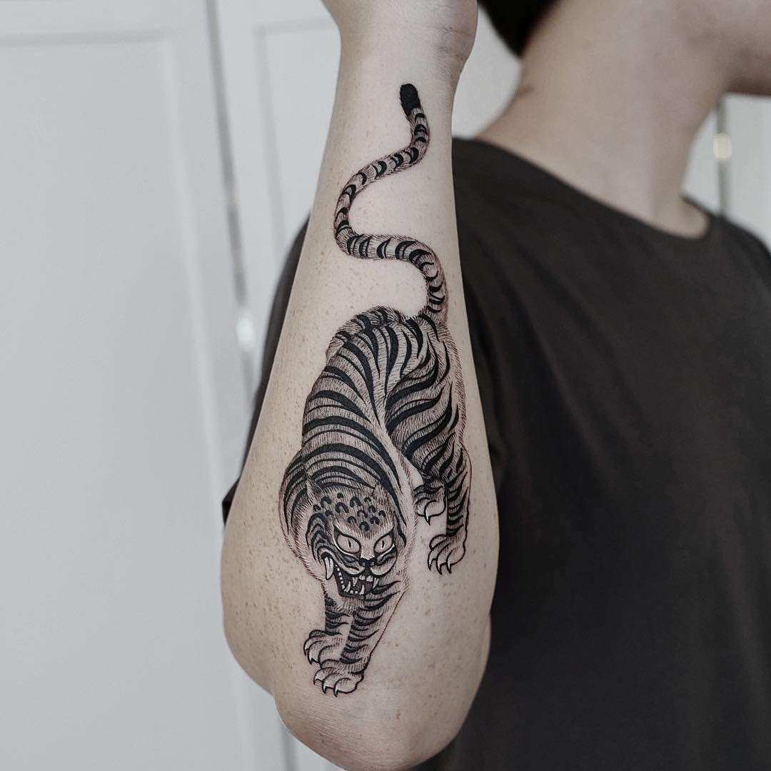 Good luck tiger tattoo