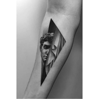 Greek bust and curtain tattoo by Pawel Indulski