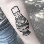 Lantern landscape tattoo by Wagner Basei