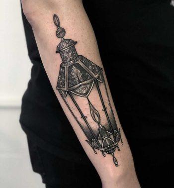 Lantern tattoo by Lozzy Bones