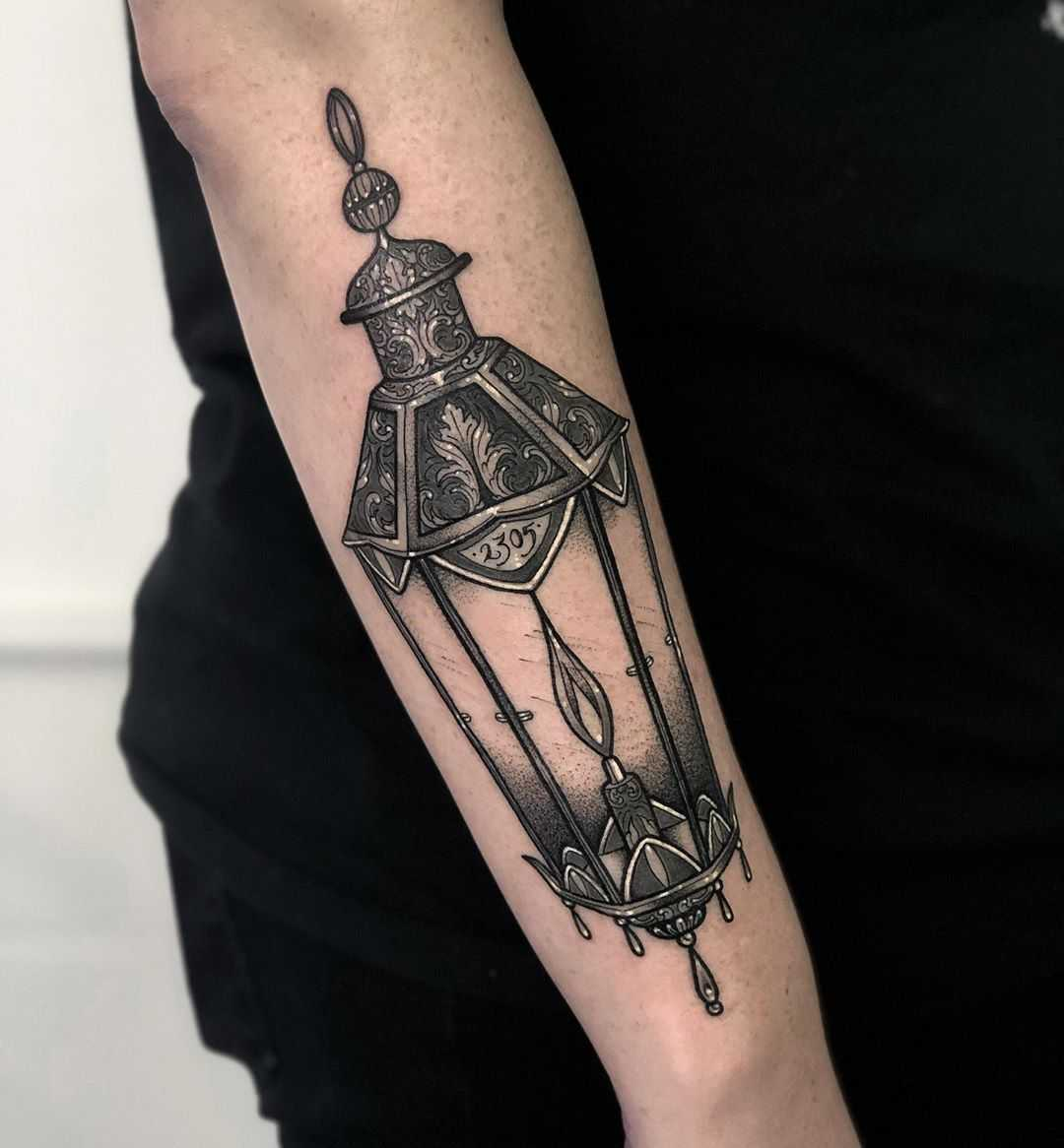 Lantern tattoo by Lozzy Bones