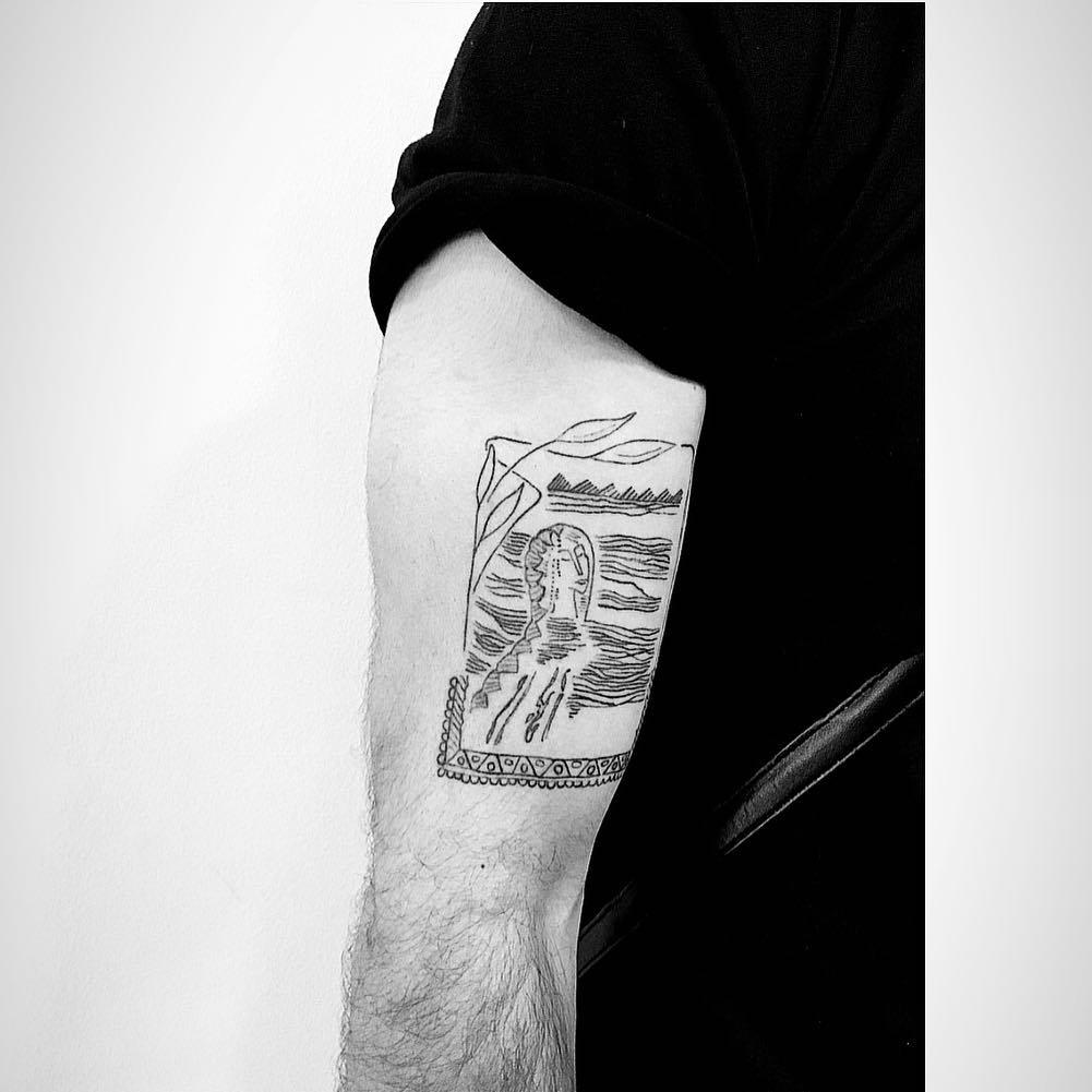 Linework painting tattoo