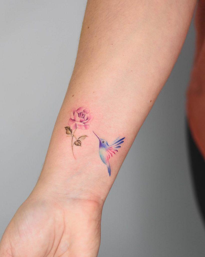 Little hummingbird and peony tattoo