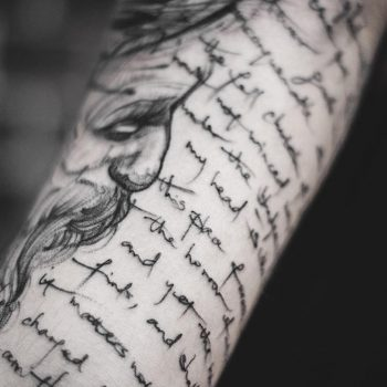 Long script tattoo by Yi Postyism
