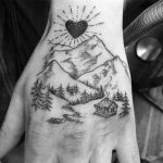 Lovely landscape tattoo by Annelie Fransson