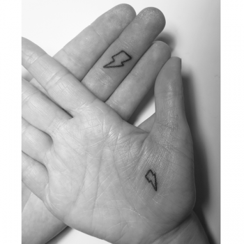 Matching hand-poked bolts by Lily Glo