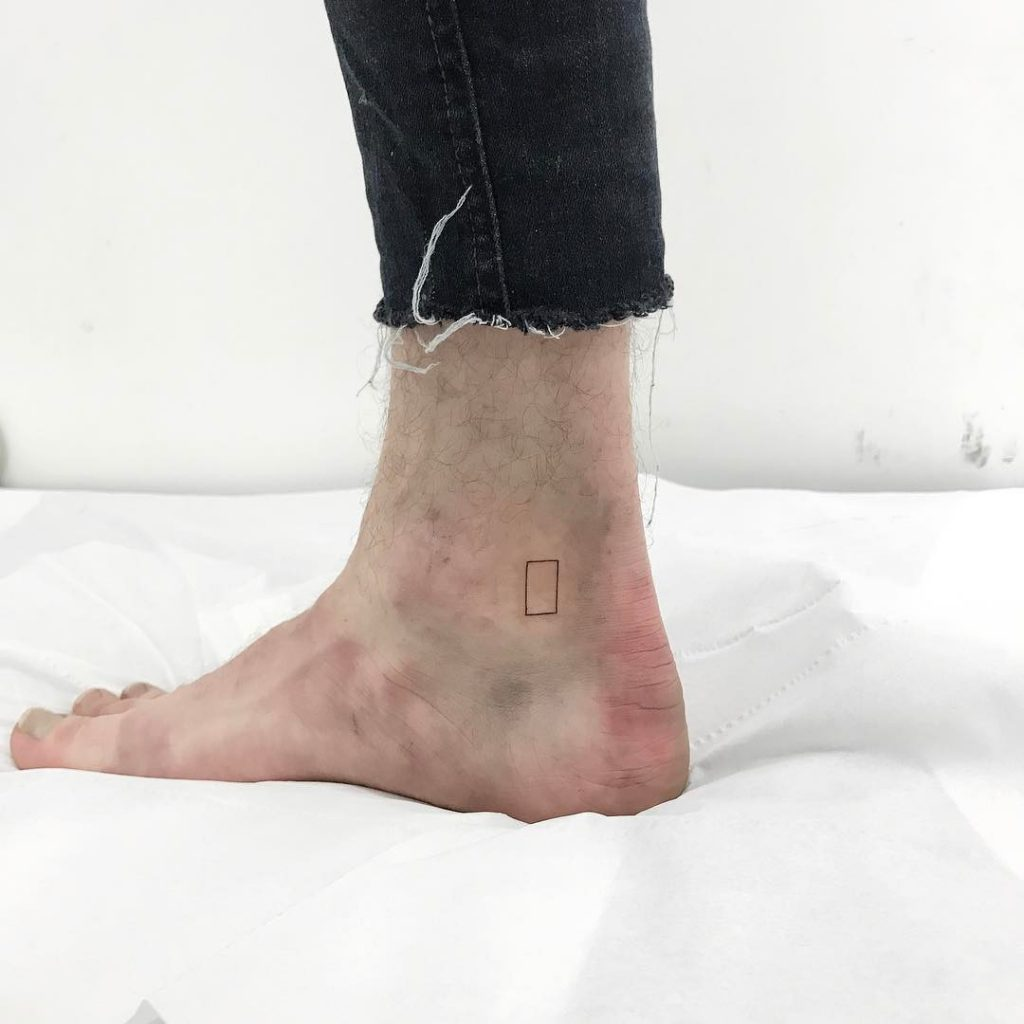 Mini rectangle tattoo by Jay Rose