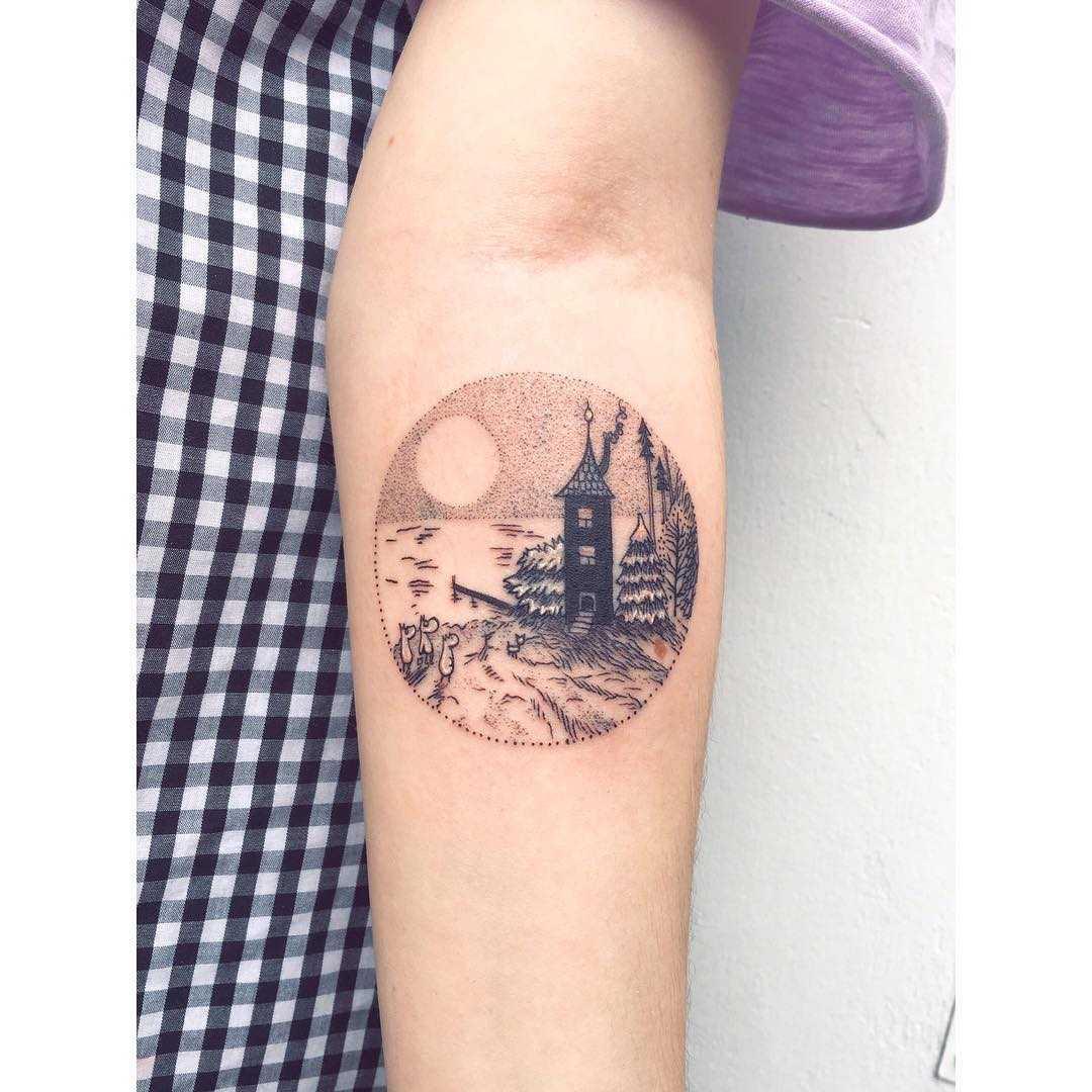 Moomins house tattoo by tattooist Zaya