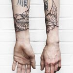 Ornamental ray tattoo by Sasha Kiseleva