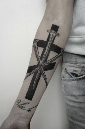 Orthodox cross and nails tattoo by SVA