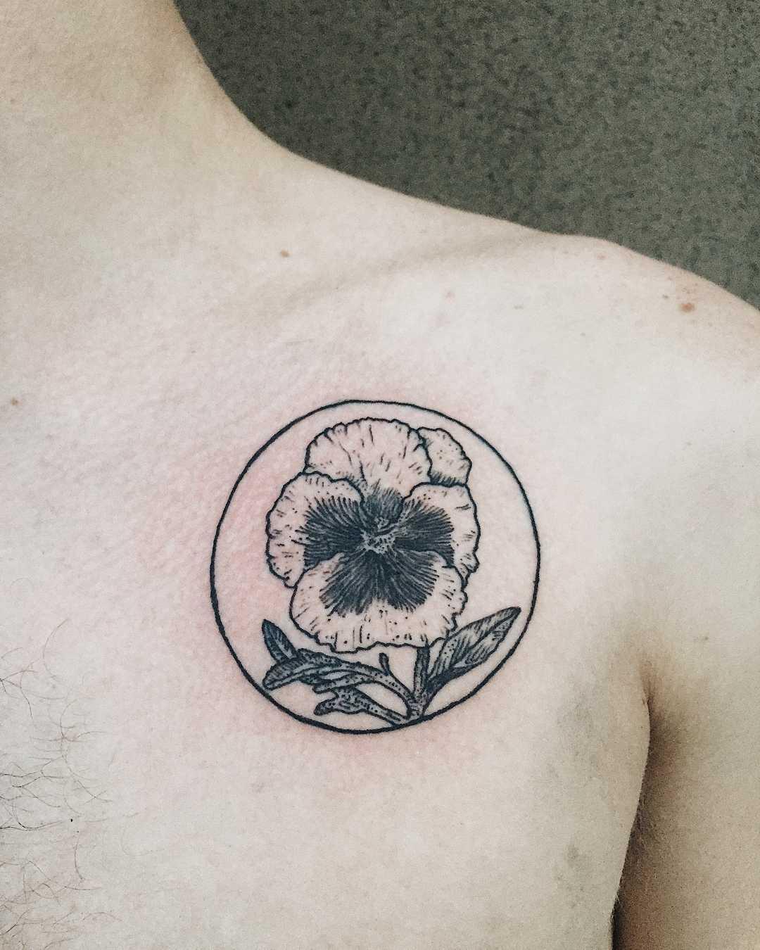 Pansy tattoo by Finley Jordan