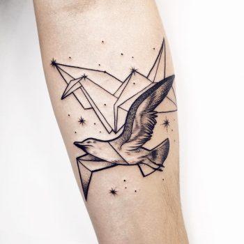 Paper crane and bird tattoo by Sasha Kiseleva