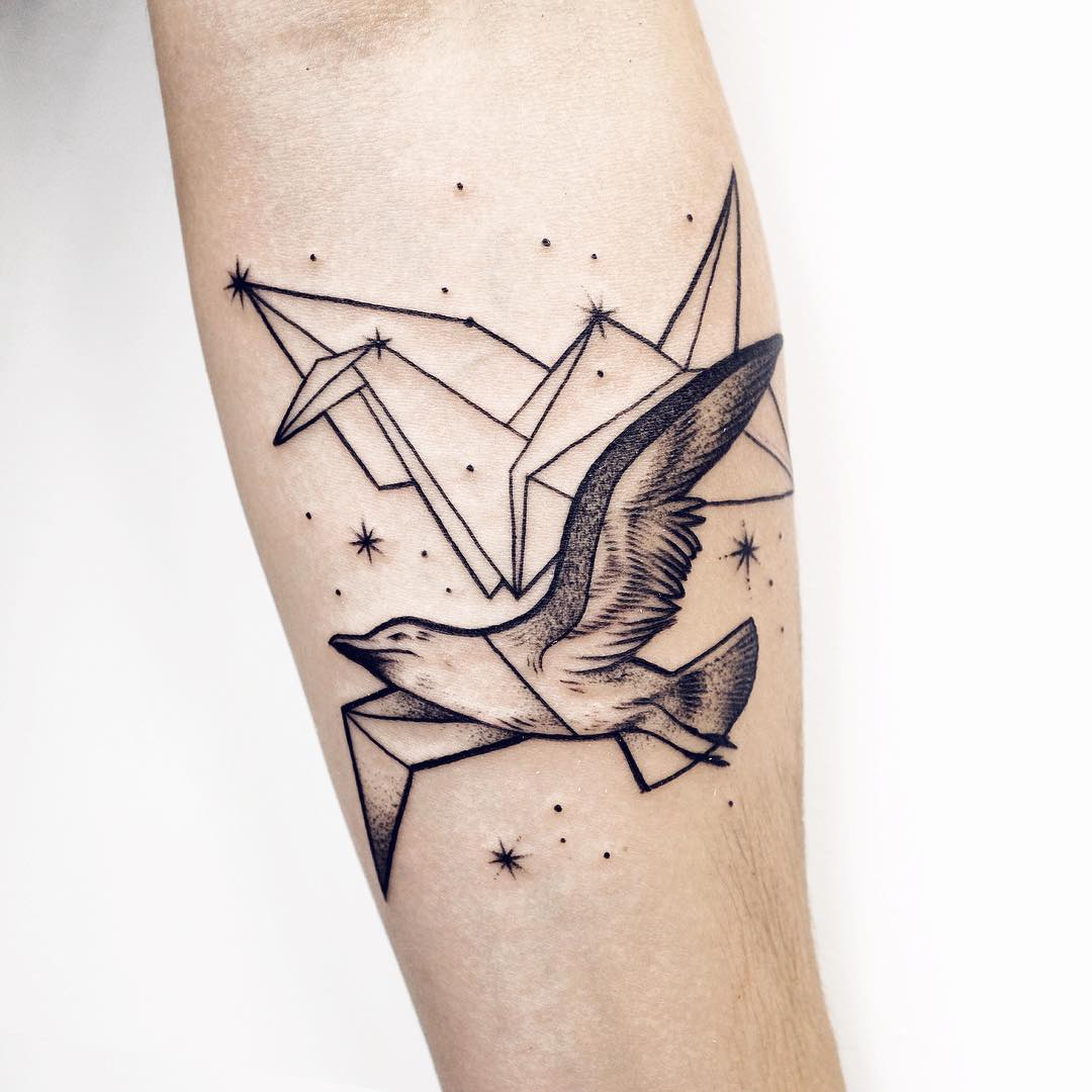 Paper crane and bird tattoo by Sasha Kiseleva