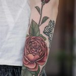 Peachy english rose tattoo