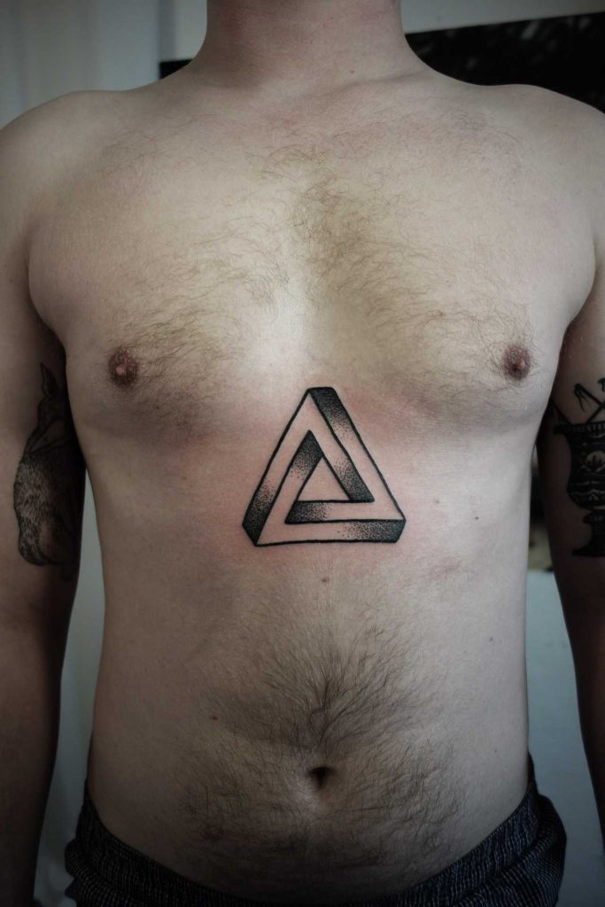 Penrose triangle tattoo on the sternum