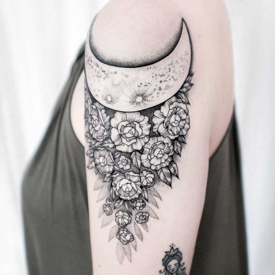 Peonies and moon tattoo by Dogma Noir