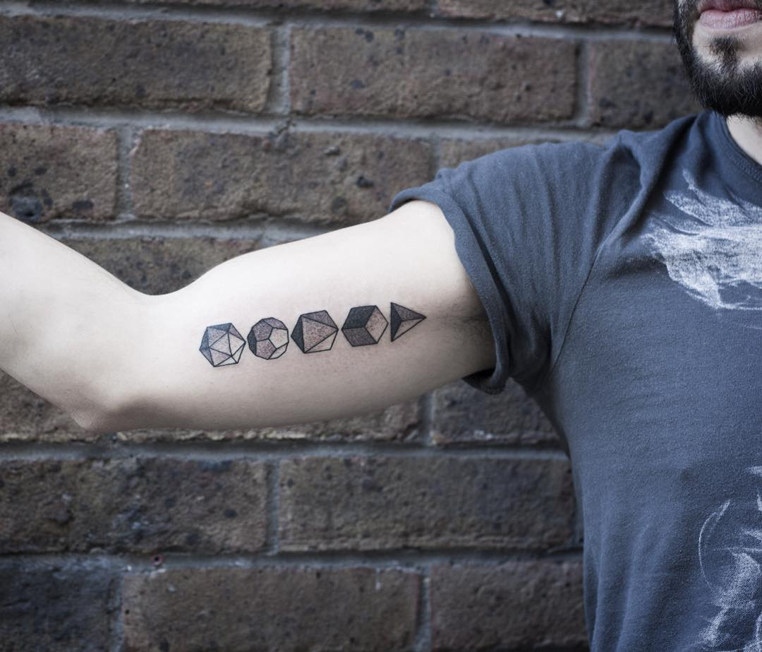 Platonic solid tattoos by Wagner Basei