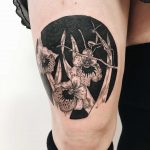 Praying mantis on the pansy orchids tattoo