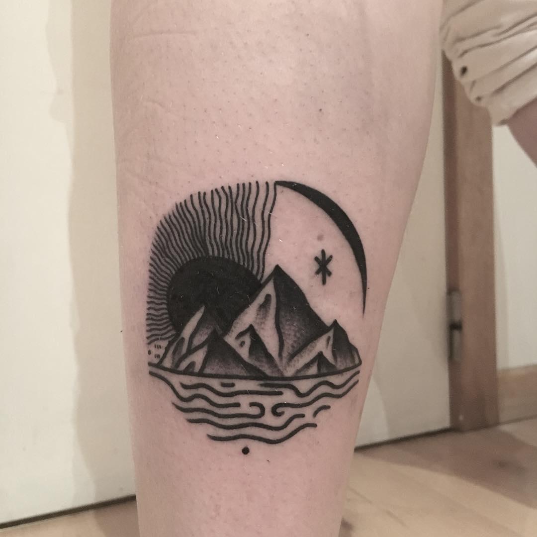 Pyramids, sun, and moon tattoo