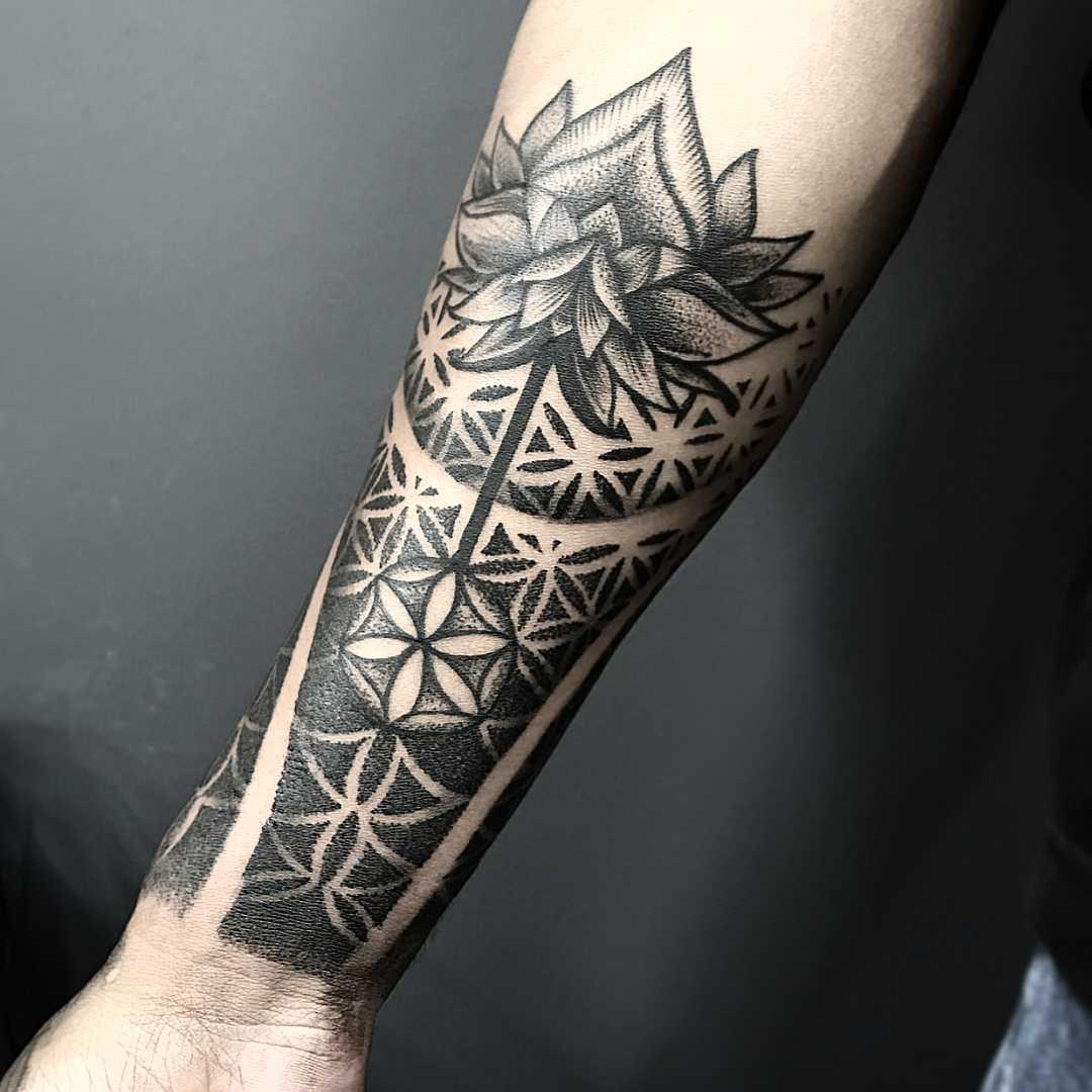 Sacred geometry and Lotus flower tattoo