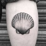 Scallop shell tattoo by Lozzy Bones