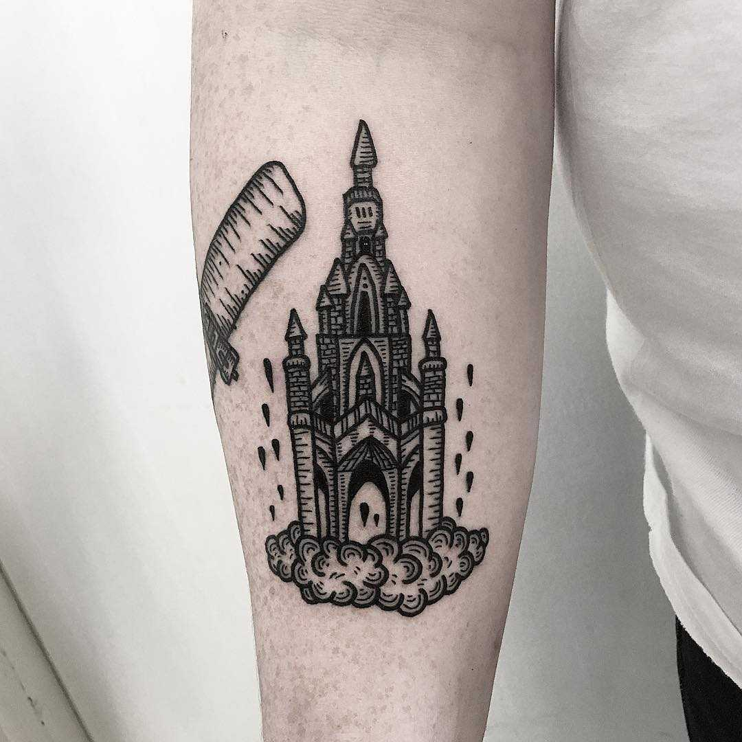 Scott Monument tattoo by Deborah Pow