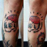 Skull and brains tattoo by Lara Simonetta